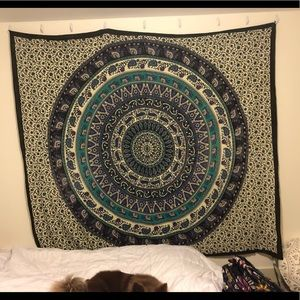 Mandala Wall Tapestry With Hanging Loops